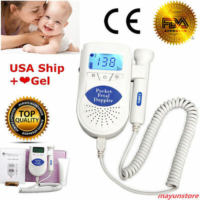 Fda Pocket Fetal Doppler Baby Heart Beat Prenatal Heart Rate Monitor Gel Us Ship