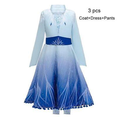 Deluxe Princess Elsa 2 Girls Fancy Dress Fairy Tale Kids Christmas Costume Hot ()
