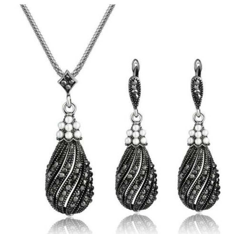 Vintage Silver Black Pearl Necklace Women Jewelry