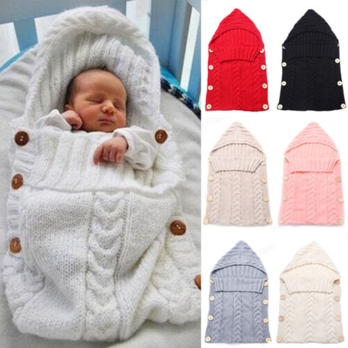 Newborn Baby Kids Cable Knit Blanket Swaddle Wrap Swaddling