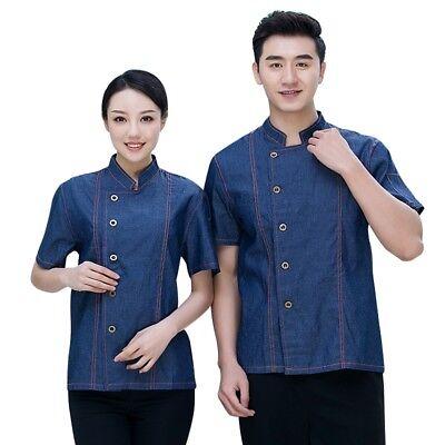 Chef Coat Denim Jacket Short Sleeves Unisex Cooking Uniform Restaurant Workwear