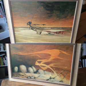 RARE Pair of Mid Century Ainslie Roberts Dreamtime Series Prints