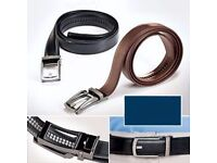 "2 x Mens leather belts-adjusts every 1/4 inch-no holes-size 28"" to 48""-bnib"