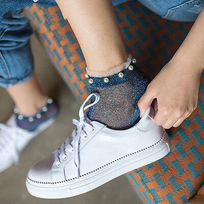 Trendy Socks (Hot Sale Trendy Woman Socks Lady Glitter  Pearl Ankle Socks Gauze Bead Thin)