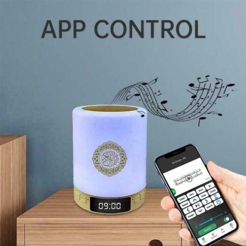 Portable Azan Clock and Quran Speaker, Smart App Control, Colorful Lights.