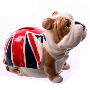 Gorgeous Union Jack British Bulldog Ceramic Moneybox - designed by Ted Smith
