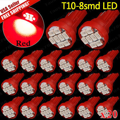 20 x PC194 T10 Pure RED Instrument Panel Dash Cluster Led Dome Map Light Bulbs
