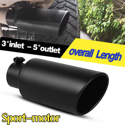 Black 3  Inlet 5  Outlet 12 Inch Long Rolled End Angle Cut Exhaust Tip Tail Pipe