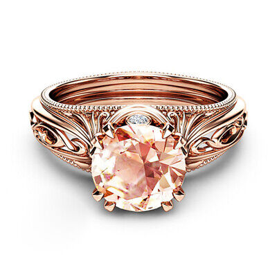 Gorgeous Round Cut Champagne Crystal Ring Rose Gold Filled Wedding Ring Size6-10 Champagne Stone Ring
