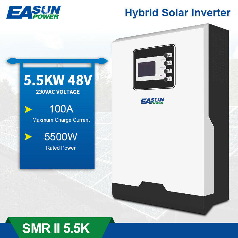 5.5KW Bluetooth Solar Inverter 500Vdc PV Input Hybrid Inverter 100A 5500W PV