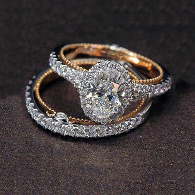Luxury Oval White Crystal Rings Set Two Tone Rose Gold Diamond Jewelry Size 6-10
