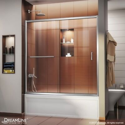 "Infinity-Z 56-60"" Sliding Tub Door, Clear or Frosted Glass"