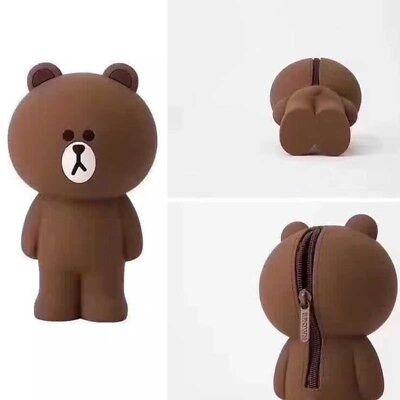 3D Cartoon Cool Bear Soft Silicone Pen Purse Pencil Case Cosmetics Makeup Bag - Cool Pencils
