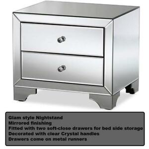 NEW Baxton Studio Floressa Hollywood Regency Glamour Style Mirrored 2-Drawer Nightstand,Silver Mirrored Condtion: New...