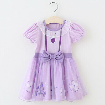 Sofia The First Toddler Baby Girl Princess Tutu Dress Cosplay Party Costume ZG9 (Sofia The First Toddler Dress)