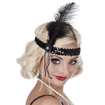 Charleston-Band Flapper schwarz mit Federn Pailettenstirnband Stirnband (Schwarze Flapper Stirnband Mit Feder)