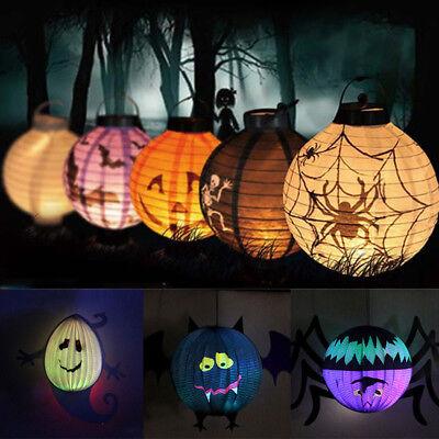 LED Paper Pumpkin Bat Spider Hanging Lantern Light Lamp Halloween Party Decor TK