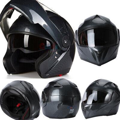 DOT Motorcycle Modular Flip up Full Face Helmet Dual Visor Carbon Fiber+ Headset