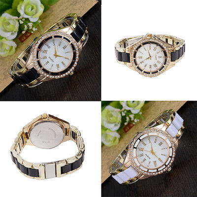 (Woman's Quartz Watch Roman Numerals Analog Rhinestone Golden Alloy Case)