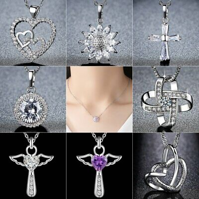 Mother's Day Gift 925 Silver Zircon Heart Pendant Necklaces Women Jewelry Party - Mother's Day Party