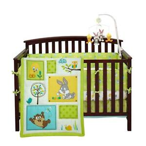 Bunny Tweety Bird Forest Owls 4 Pc Nursery Neutral Crib Bedding Set