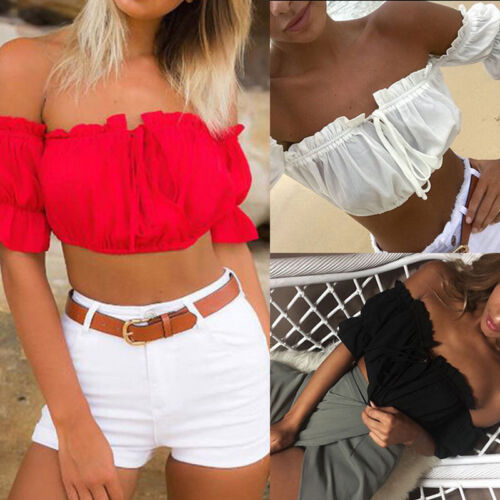 Fashion Womens Ladies Summer Lace Off-shoulder Casual Blouses Crop Tops T-Shirt
