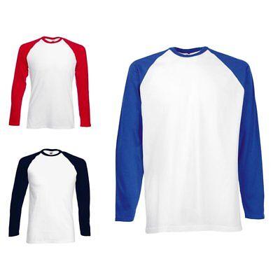 Fruit of the Loom Shirt Baseball LANGARMSHIRT T-Shirt herren S M L XL XXL 3XL