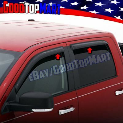 For Chevy SILVERADO 1500 CREW CAB 2014-2016 2017 4PC Window Visors Guards Shade