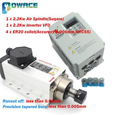 Square 2.2kw Er20 220v Air Cooled Spindle Motorfuling Vfd Inverter Cnc Router