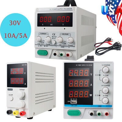 30v 5a10a Dc Power Supply Precision Variable Digital Adjustable Lab Test W Clip