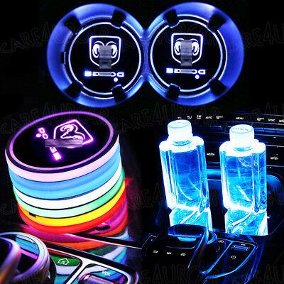 2Pcs Led Car Cup Bottle Holder Pad Mat For Dodge Auto Interior Atmosphere Lights