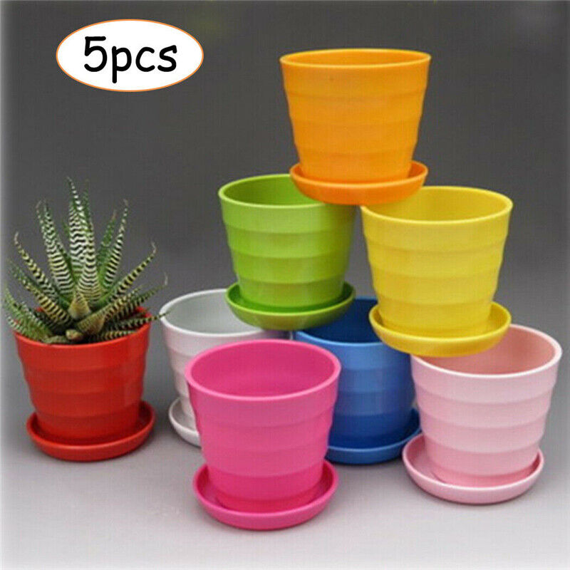 5 Pack Plant Pot Garden Round Flower Planter Plastic Pots with Saucer Tray Decor