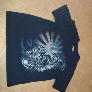 Boys Size 7/8 Shirt Sleeve T-Shirt in Navy with Dragon Print
