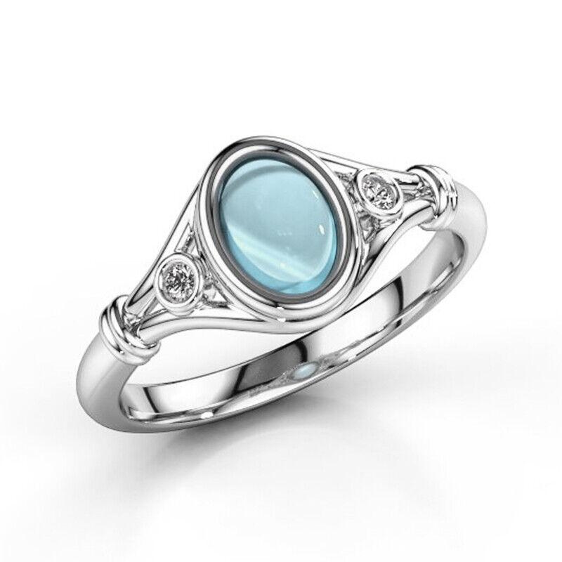 Fashion Women's Wedding Rings 925 Silver Jewelry Moonstone R