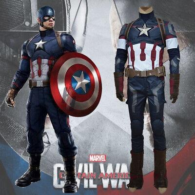 Avengers Captain America II 2 Age of Ultron Steve Rogers Uniform Costume Cosplay