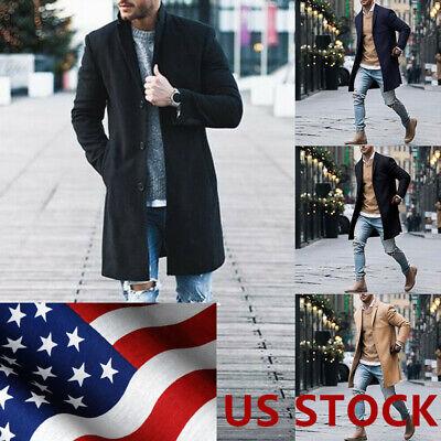 Outwear Overcoat - Fashion Men's Wool Coat Winter Trench Coat Outwear Overcoat Long Sleeve Jacket