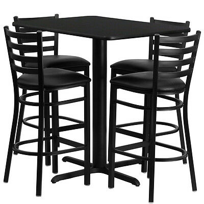 Restaurant Table Chairs 24wx42l Black Laminate With 4 Ladder Metal Bar Stool