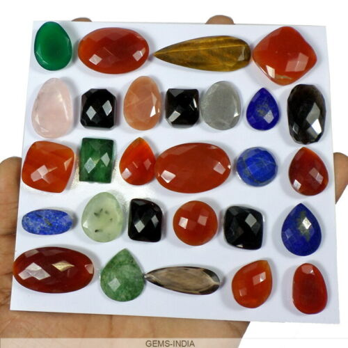 460 Cts Natural Untreated Multi Color Onyx Checker Cut Huge Loose Gems~28 Pcs