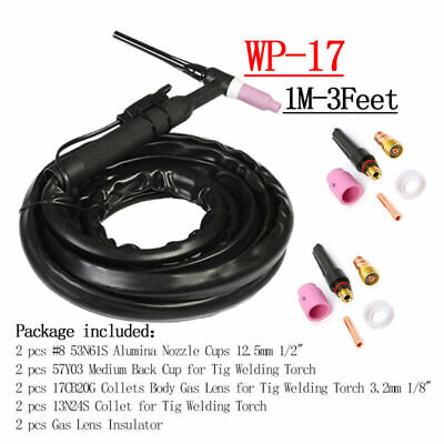 150amps Wp17 Tig Welding Torch Flexible Head Air Cooled W Consumables Supplies