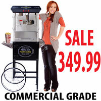 COMMERCIAL GRADE 8OZ POPCORN MACHINE WITH CART : 5 FEET BLACK