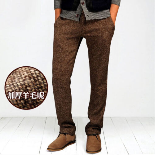 Men/'s Woolen Pants Straight Retro Style British Trousers Business Casual Working