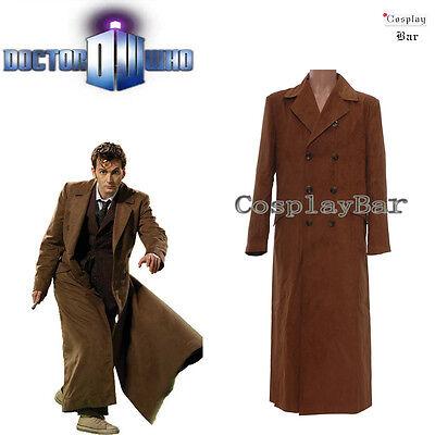 Men's Doctor Who Long Black Brown Trench Coat Halloween Party Cosplay Costume  (Brown Coat Halloween Costume)