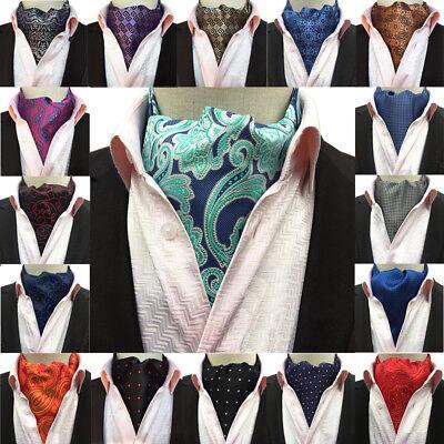 Men Tuxedo Polka Dots Flower Paisley Scarves Cravat Ascot Ties Wedding Necktie
