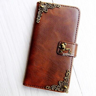 3D Frog phone wallet Leather flip case Handmade Stand cover For HTC One M8 M9 A9 (Htc One M8 Case Frog)