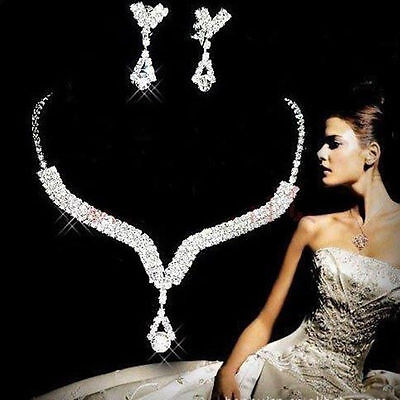 Women Bridal Jewelry Wedding PARTY Crystal Rhinestone Earrings Necklace Set CCUS