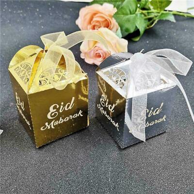 Happy Decorations (Happy Eid Mubarak Candy Box Ramadan Decorations DIY Paper Gift Boxes Favor Box)
