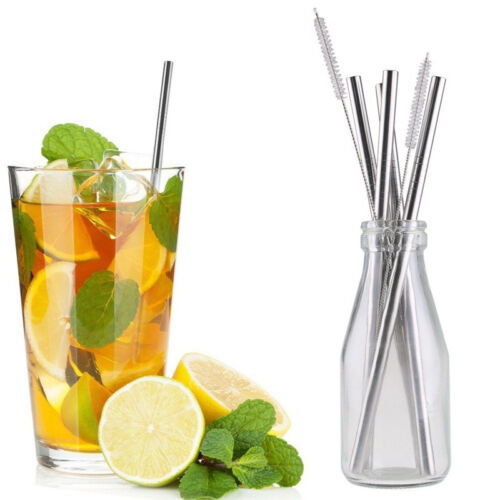 4Pcs Reusable Washable Stainless Steel Drinking Straws ...