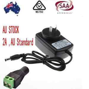 AU 12V 2A, SAA Power Supply Charger Transformer 3528 5050 LED Strips Adapter+ DC