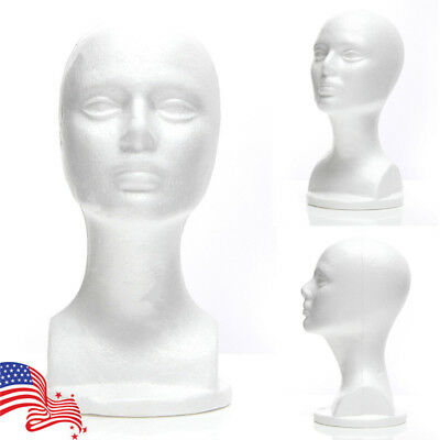 Us Styrofoam Mannequin Foam Wig Hair Head Model Glasses Hat Wig Display Stand