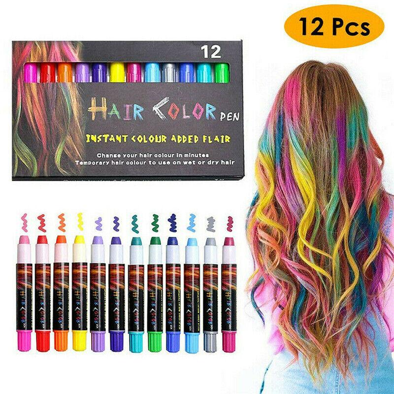 12 Colors Hair Chalk Temporary Hair Dye Marker Washable Pen
